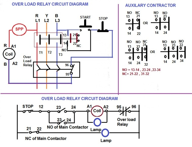 over load relay & contactor for starter | electrical notes ... 3 pole contactor wiring diagram relay contactor wiring diagram
