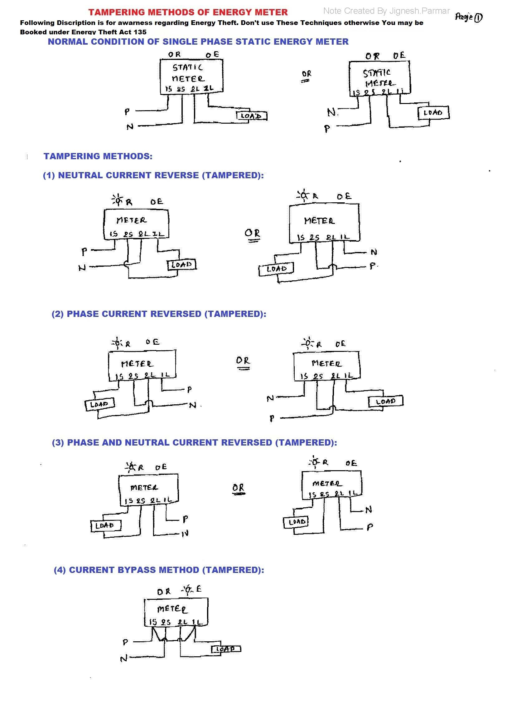 Tampering Methods Of Energy Meter Electrical Notes Articles Smart Wiring Diagram Rate This
