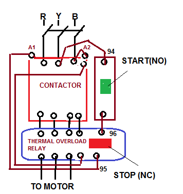 Direct On Line Starter | Electrical Notes & Articles on 3 phase motor wire diagrams, 3 phase wiring diagram wires, 3 phase transformer connection diagram, 3 phase electric motor diagrams, 3 phase motor troubleshooting guide,