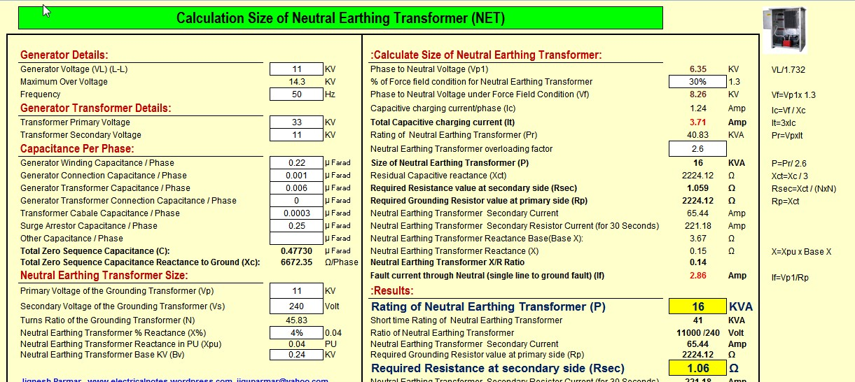 Calculate Size Of Neutral Earthing Transformer Net