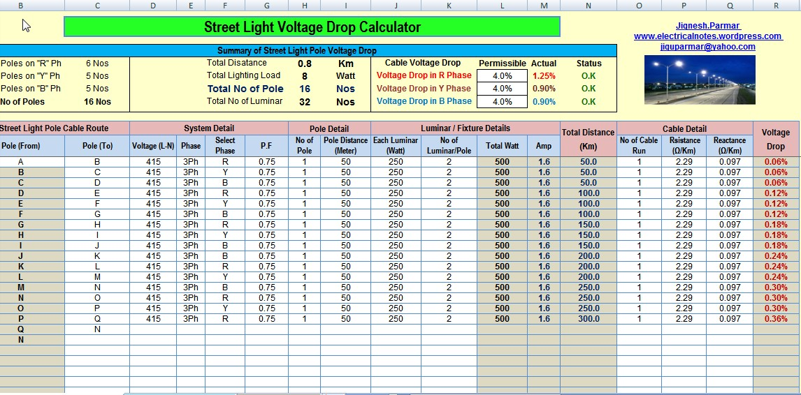 Calculate Voltage Drop and No's of Street Light Pole (Excel