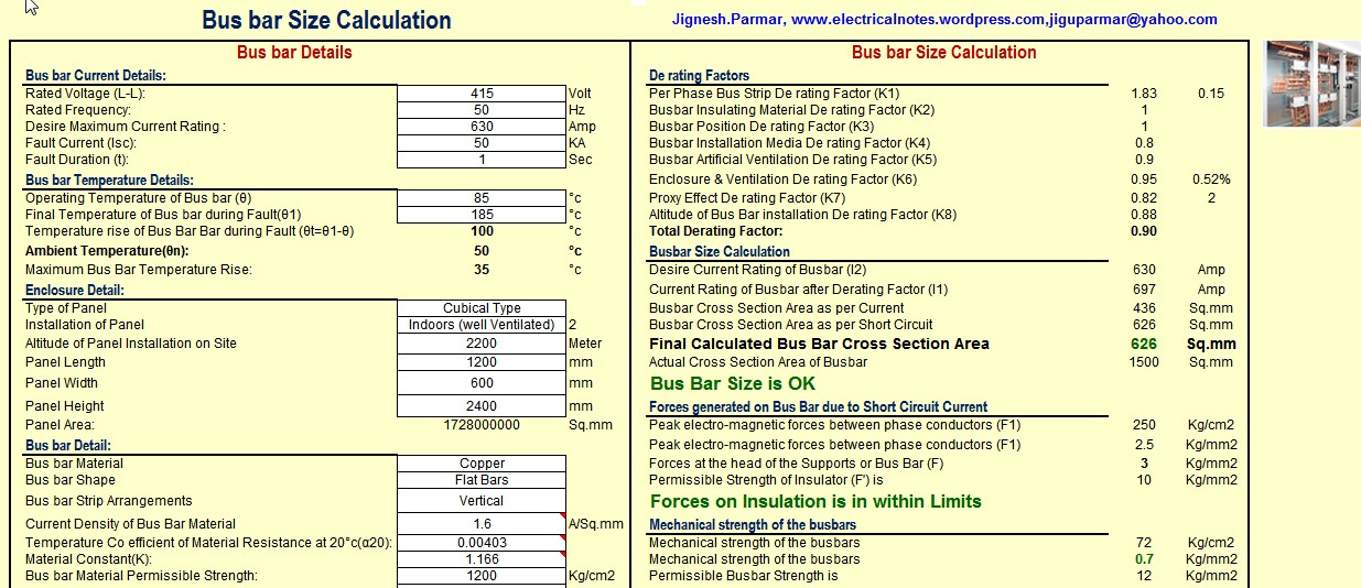 Panel Design / Calculate Size of Bus bar (Excel) | Electrical Notes