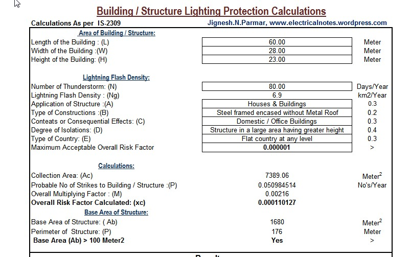 Building Lighting Protection Calculation Excel