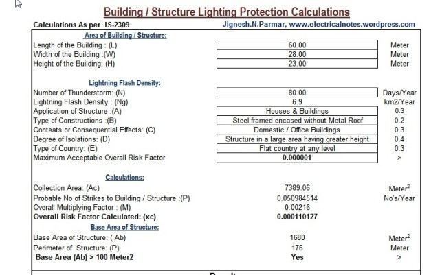 Building Lighting Protection Calculation Excel Electrical Notes Articles