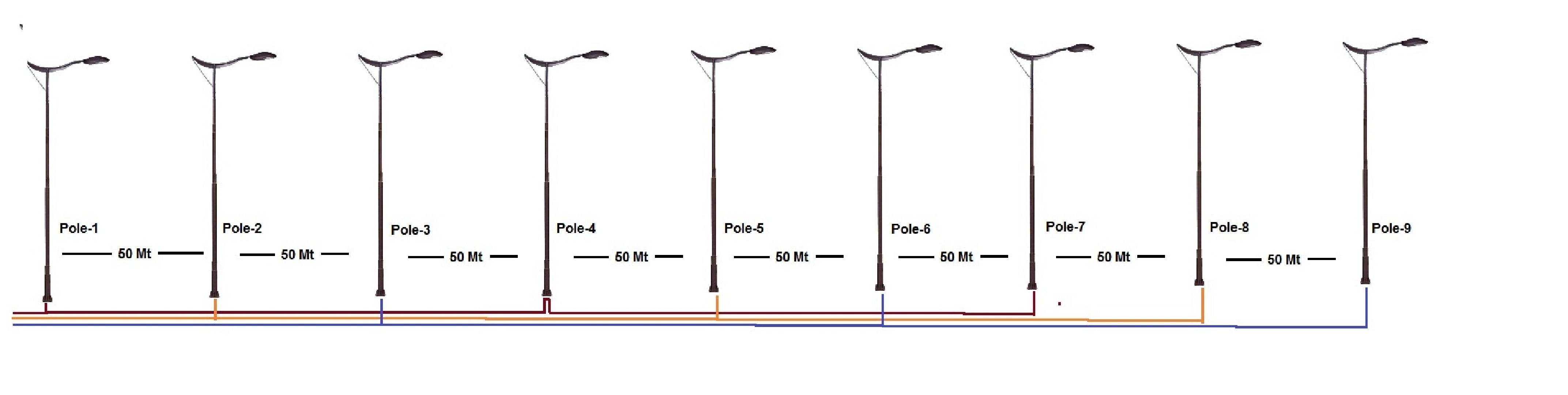Lighting Distribution Single Line Diagram Electrical Wiring Calculate Cable Voltage Drop For Street Light Pole Example